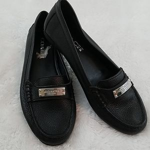 Coach Fredrica Sz 6 Black Pebbled Leather Loafers